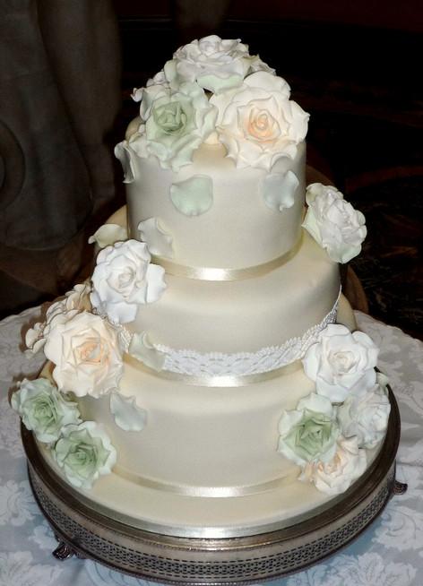 Lace and Pastel Roses Wedding Cake