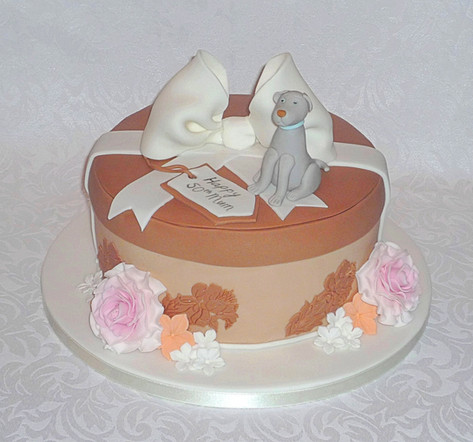 Hat Box with Dog Birthday Cake
