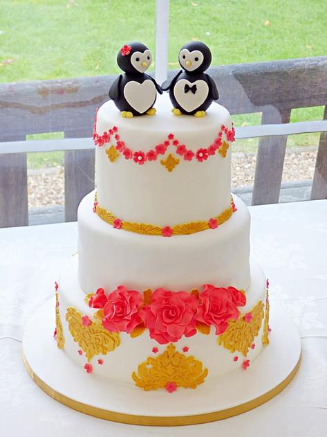 Mr and Mrs Penguin Wedding Cake