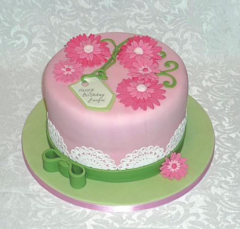 Pink Gerbera Birthday Cake