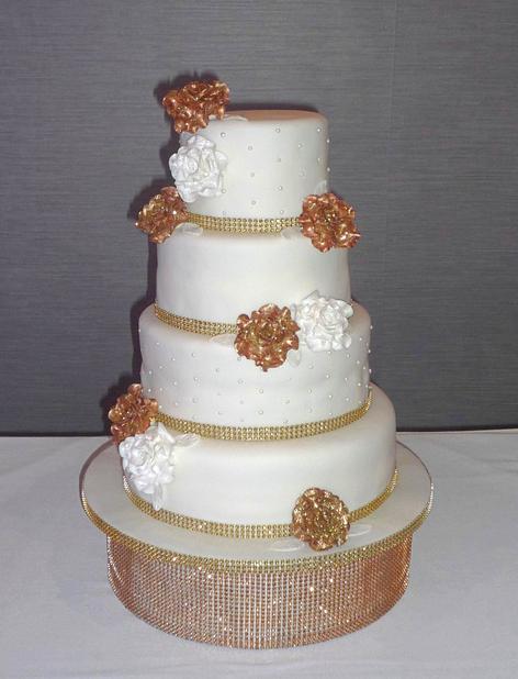 Bling Gold and White Roses Wedding Cake