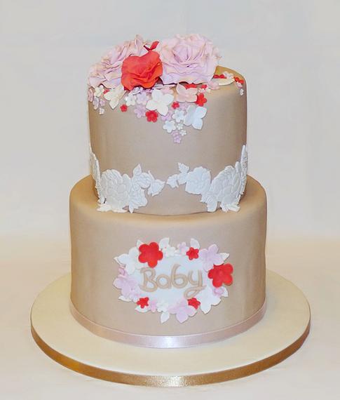 Vintage Floral Baby Shower Cake