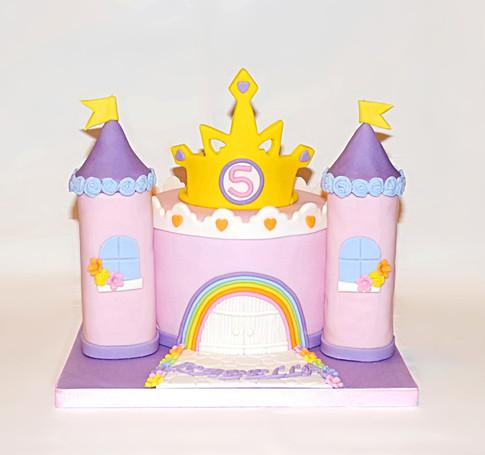 Rainbow Princess Castle cake