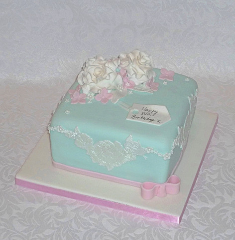 Roses and Applique Birthday Cake