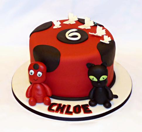 Miraculous Ladybug and Cat Noir cake