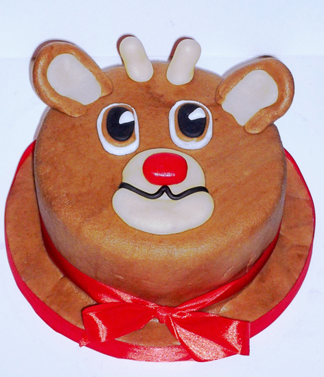 Rudolph the red nose reindeer cake