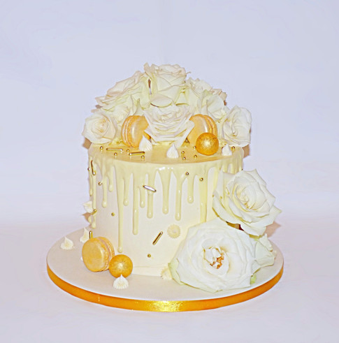 Cream and Gold floral drip cake