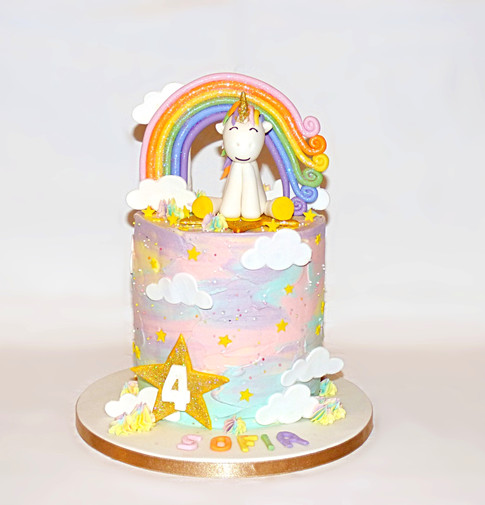 Rainbow Unicorn Cloud cake
