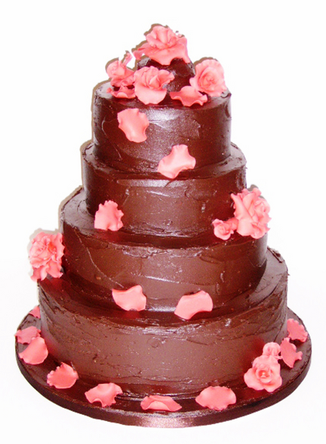 Chocolate and red rose tiered cake