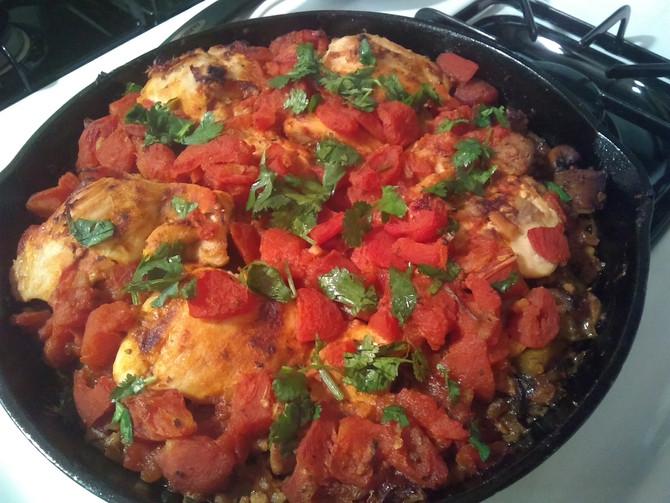 One-Pan Sicilian Chicken and Cauliflower Rice