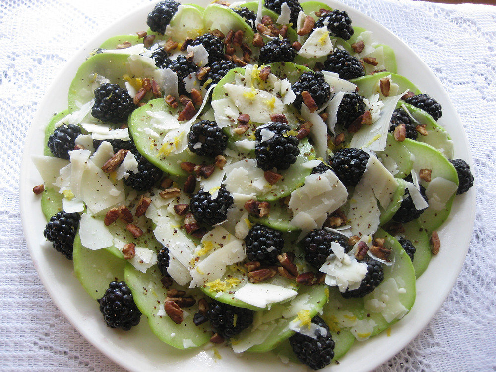 Blackberry and Chayote Carpaccio Salad