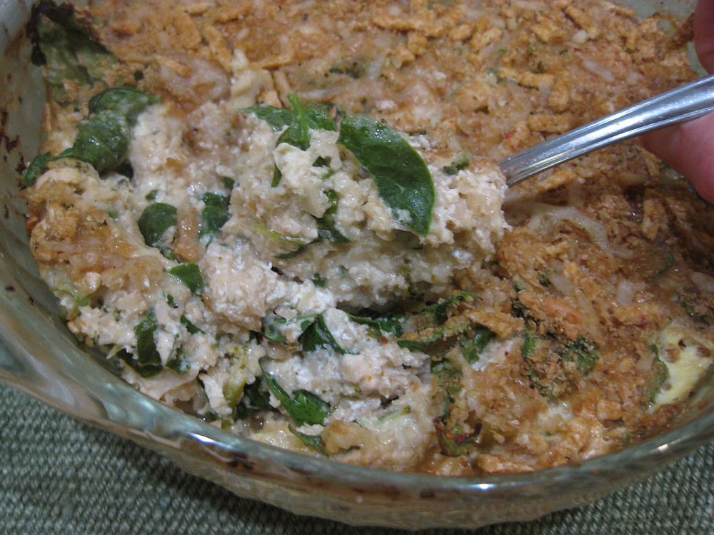 Low Carb. Cheesy Cauliflower-Spinach Bake