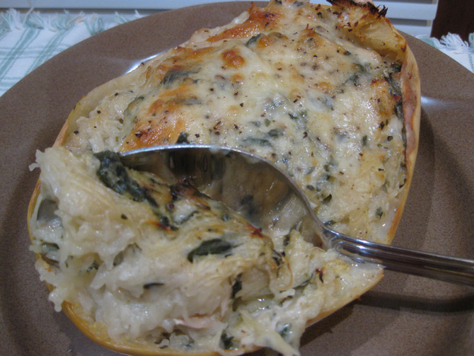 Spinach-Artichoke and Chicken Spaghetti Squash