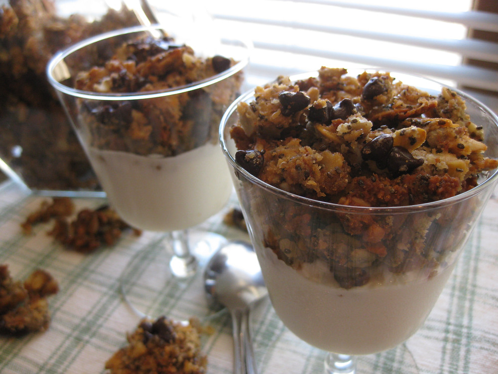 Chewy Chocolate Chip Granola (low carb, gluten free, keto with vegan option)