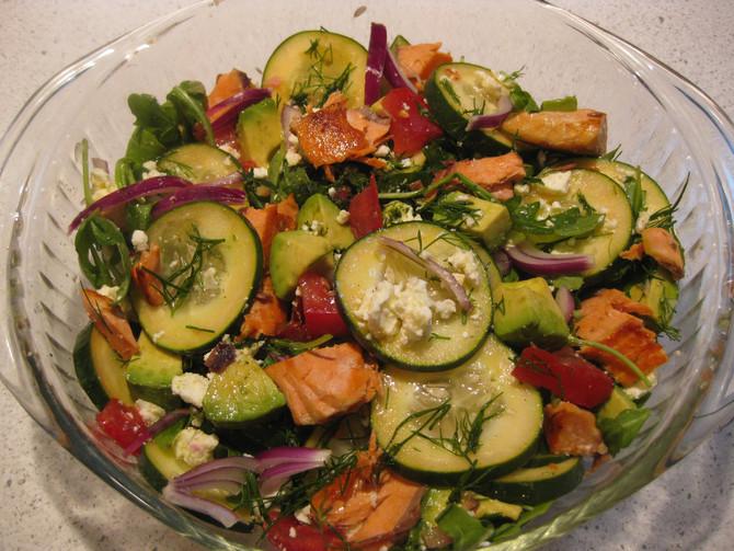 Greek Cucumber-Salmon Salad