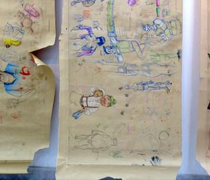 Sutura detalles de los manteles de papel