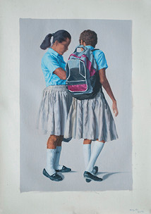 Dos Niñas   óleo sobre tela 65x90 cm 2013