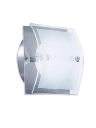 Aplique cuadrado con vidrio curvo semi satinado.200x200