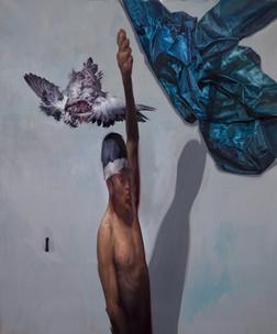 Noria con paloma | óleo sobre tela 110x90cm