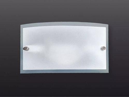 aplique rectangular con vidrio curvo satinado 350x150m
