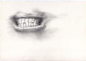 Intento de boca   lápiz sobre papel 29,5x 21cm