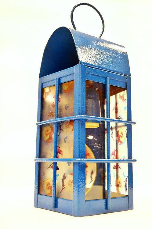 Farol En Chapa Galvanizada Para Exterior Azul