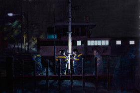 Finalmente la noche   óleo sobre tela 76x115cm 2017