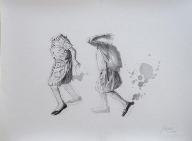 Zapatos negros | lápiz sobre papel 50x70 cm