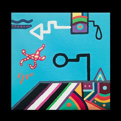 """SCHOOLYARD"" 4 x 4 acrylic painting"