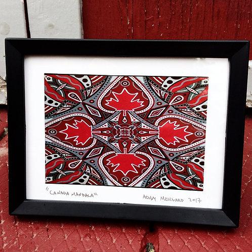 Canada Mandala signed, framed 5 x 7 print