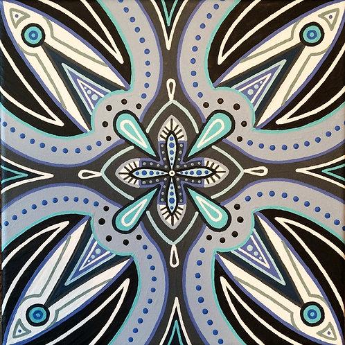 """MIDNIGHT MOONLIGHT"" 10 x 10 inch acrylic painting"