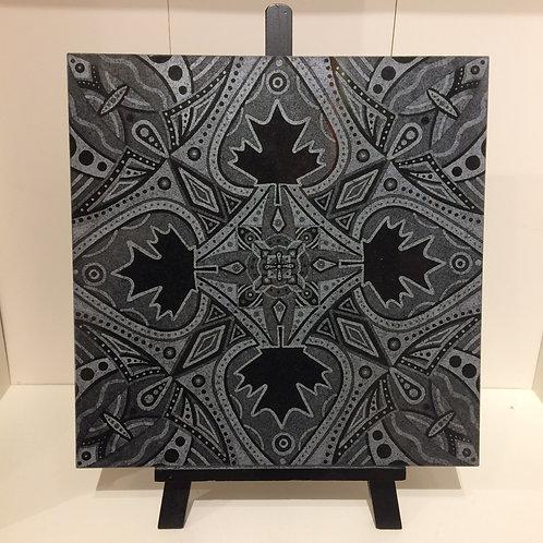 """Canada Mandala"" 12 x 12 inch etched granite tile"