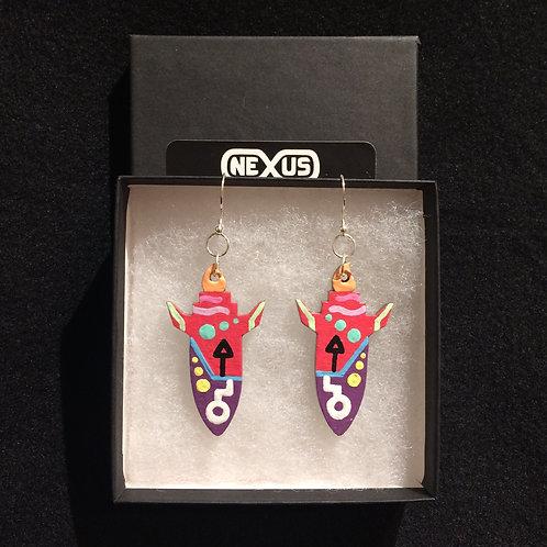 """Earrings #3 - 2.25"""" Rocket Ships"""