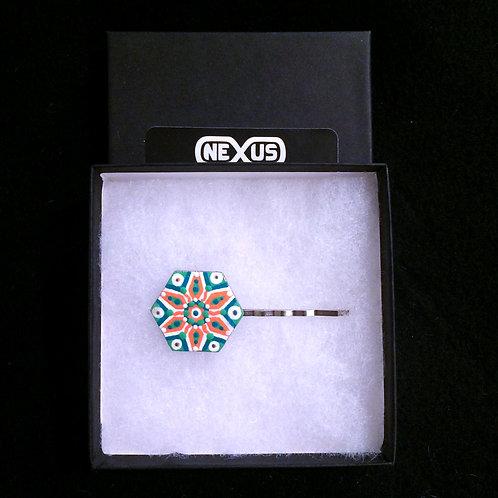 """Hair Pin #11 - 1.25"""" Hexagonal Mandala"""