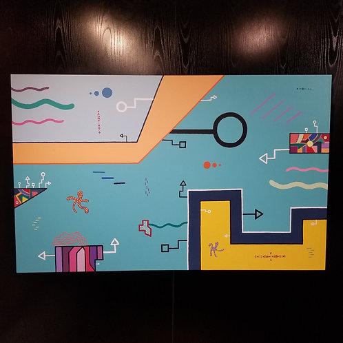 """LAND, SEA & AIR"" - 48 x 30 inch acrylic painting"