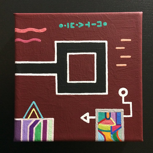 """LITTLE BURGUNDY"" - 6 x 6 inch acrylic painting on canvas"