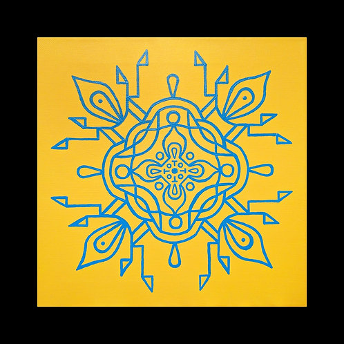 """BLUE SKY, SUNNY DAY"" 10 x 10 inch acrylic painting"