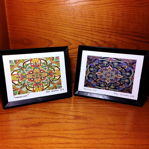 """WAKING LIFE"" + ""RESTING LIFE"" signed & framed 5 x 7 inch prints"