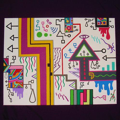 """Level 3"" 18 x 14 original acrylic painting"