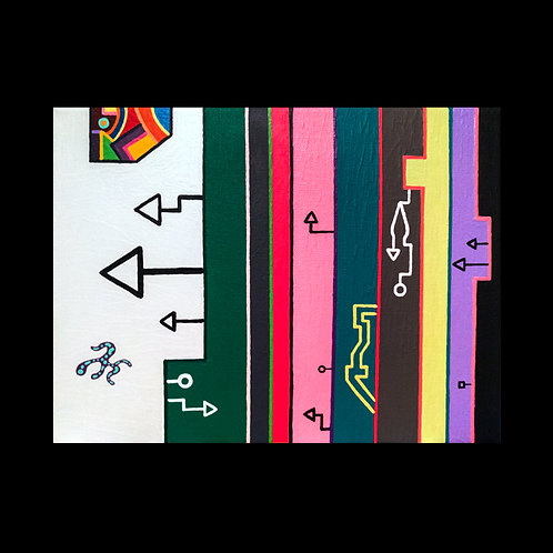 """LAYER CURTAIN"" 9 X 12 acrylic painting"