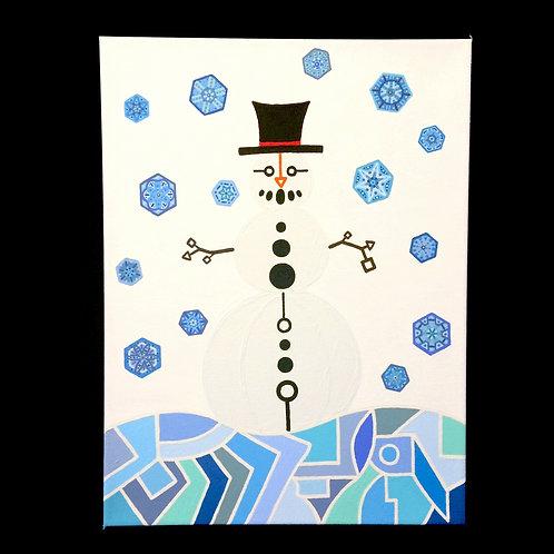 """SNOWMAN"" - 12 x 16 inch acrylic painting"