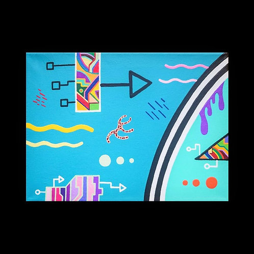 """Aquarium of Awareness"" 9 x 12 inch acrylic painting"