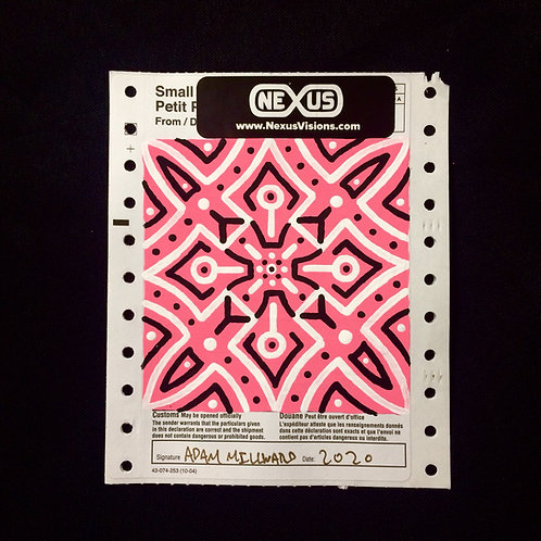 PAINTED CANADA POST CUSTOMS  DECLARATION STICKER - Bright Pink