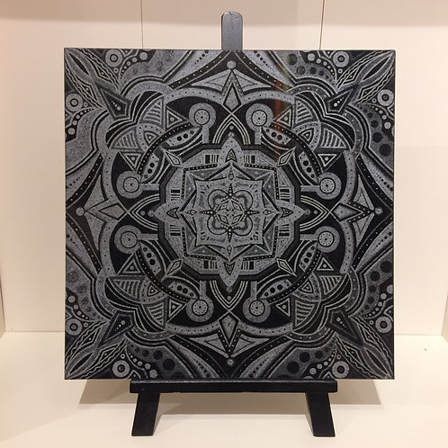 """""""Resting Life"""" 12 x 12 Inch Etched Granite Tile"""