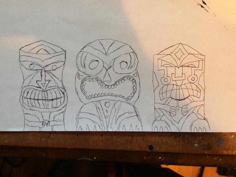Tiki mandala rough sketches - Adam Millward Mandala Art