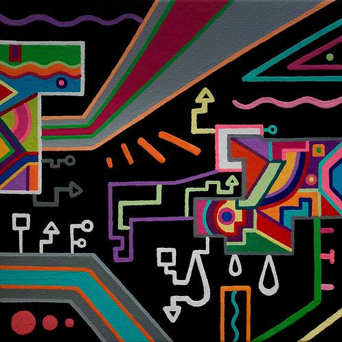 """Cosmic Playground"" 8 x 8 inch original acrylic painting"