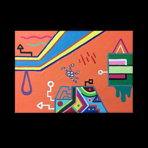 """QUINTAPUS"" 5 X 7 acrylic painting"