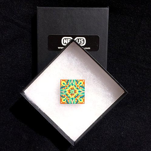 "Brooch Pin #3 - 1.25""  Square Mandala"