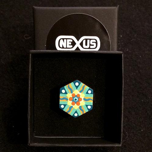 "Ring #3 - .75"" Hexagonal Mandala (Vertical)"