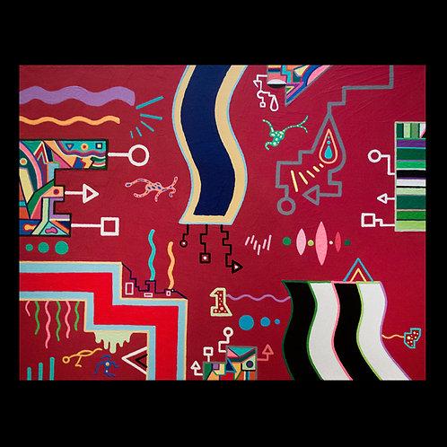 ALIEN AQUARIUM 16 x 20 original acrylic painting